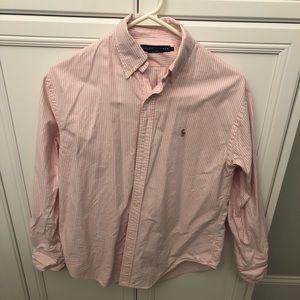 Pale pink striped polo shirt